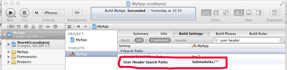 user header search path